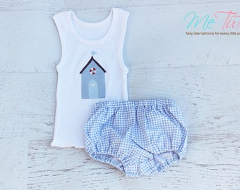 Baby boy nappy diaper cover and singlet set Beach House Shack blue gingham