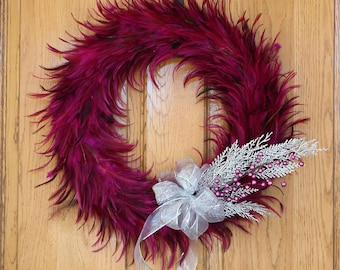 Large Hackle Feather Wreath Shocking Pink