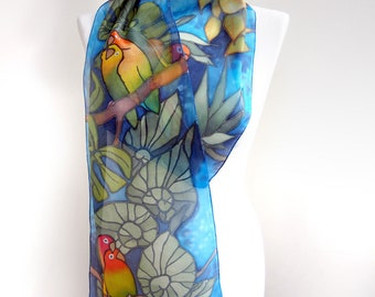 Lovebird scarf - parrot scarf - hand painted silk scarf - tropical scarf - animal bird scarves - rain forest design - monstera leafs - slim