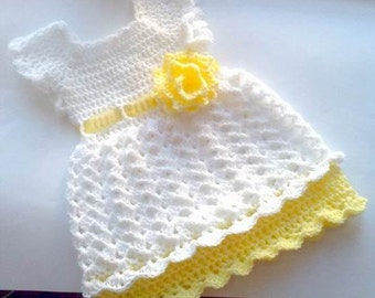 Crochet Dress Pattern Size Newborn To Toddler , Easy Baby Dress, Crochet Girl Dress