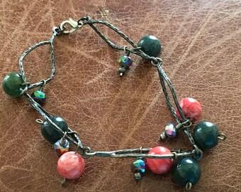 Jasper and rhodonite bracelet