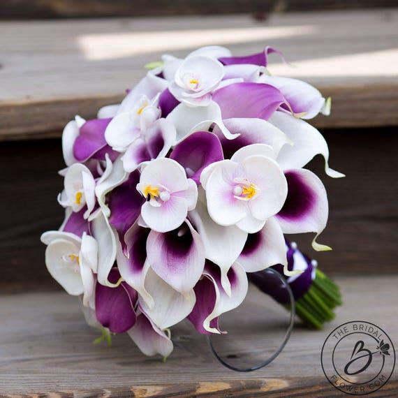 Bouquet de lys calla bouquet de mariage orchid e violet et for Bouquet de fleurs lilas