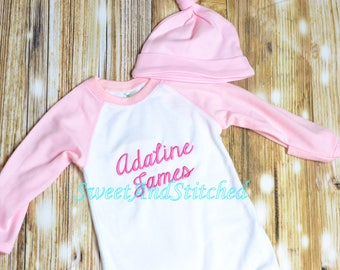 Baby girl monogrammed raglan gown pink and white, baby girl take home outfit, monogrammed outfit - raglan gown and hat, baby shower gift