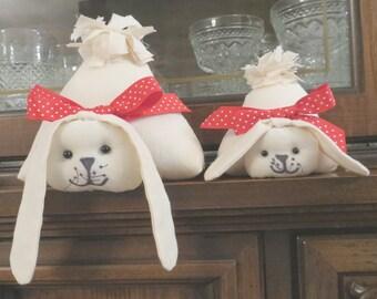 Rabbit Shelf Sitters,  Fabric Rabbits, Stuffed Rabbits, Gift Ideas, white rabbits