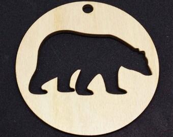 Polar Bear Christmas Bauble – 3mm Birch - Laser cut - Laser cut - Laser cut - Laser cut Approx 75mm x 75mm - Made in the United Kingdom