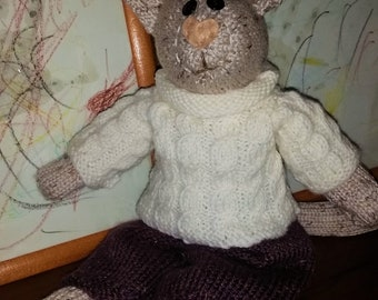 e-Pattern - Knitted toy - Mikey Cat - a dressed  cat  - NEW PATTERN