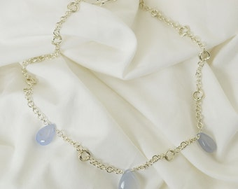 Chalcedony Necklace - Sterling Silver Necklace - Chalcedony - Blue - Silver - Chainmail Mobius - Birthday Gift - Bridesmaid Gift