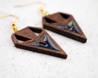 SKYE ~ laser cut wooden earrings with grey or navy resin in geometric earrings / lightweight earrings / unique jewelry /