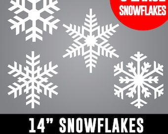 14 inch LARGE Snowflakes - Retail Shop Windows, House Windows, Christmas Decor, Winter Wonderland