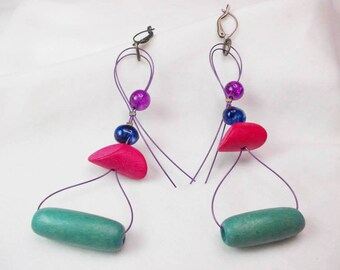 Handmade earrings with wooden and glass beads
