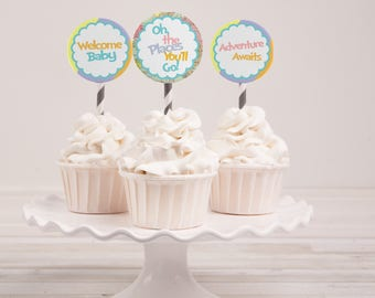 Instant Download - Oh the Places You'll Go Cupcake Toppers - Baby Shower