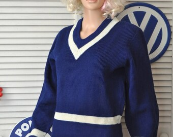 Vintage 60s Sports Sweater College High School Letterman Mens Womens Blue White Trim Norway Winter Ski Athletic Costume Animal House 16