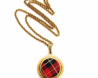 Tartan Plaid Locket - Vintage Red Plaid Scottish Fabric Locket Necklace