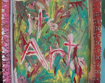 painted  glass and metal frame  abstract   its art