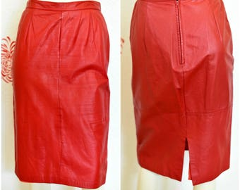 Vintage Pencil Skirt | 80s Leather Skirt | Red Pencil Skirt | Red Leather Skirt | Knee Length Skirt | Leather Pencil Skirt | Red Skirt