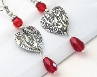 Silver Heart Earrings - Embossed, Red Crystal, Drop Earrings, Long Earrings, Red Earrings