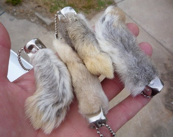 Lucky Rabbit's Foot genuine rabbit's feet key chains qty 4 feet for good luck