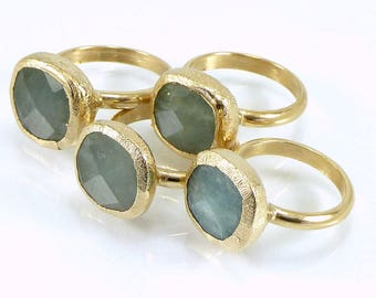 Aquamarine Ring, Aquamarine, March Birthstone Ring, Raw Crystal Ring, Raw Aquamarine Ring, Womans Gift, Boho Chic,Gold Ring By Inbal Mishan