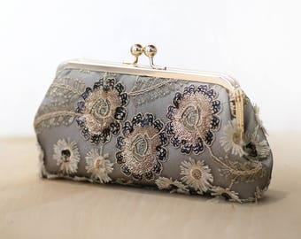 Black White and Gold Sequins Floral Clutch, Embroidery Lace Purse, Holiday & Wedding Mother of the Bride Gift