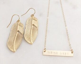 MAMA BIRD | Mama Bird Necklace | Gold Mama Bird Bar Necklace | Gold Bar Necklace | Gold Mama Bird Necklace | Mama Bird Jewelry