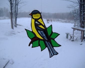 American goldfinch/leaves, stained glass suncatcher