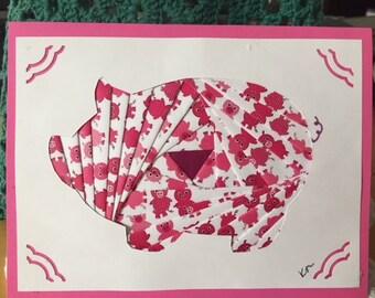 Pig - Piggy  - Iris Folded Card