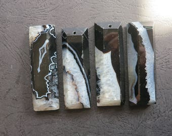 AS PICTURED- 4pcs Black White Druzy Agate Rectangle Long Stick Pendant 22x60x12mm- top drilled,Mens Pendant