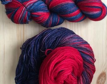 Hot 'N' Cold Colorway: Hand Dyed Superwash Merino Sock Yarn, 100g/467 yds