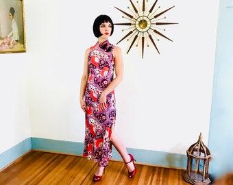 des années 70 maxi robe, Paisley imprimé robe, des années 60 robe hippie, motif psychédélique, Vintage Cheongsam, col Mao, rose orange, robe moulante Sexy