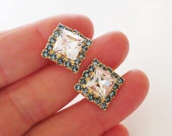 Mother,Statement jewelry,Square stud Earring,Navy Bridal studs,Sapphire Blue Bridal stud Earrings,Crystal Square Studs,Swarovski®,Wedding
