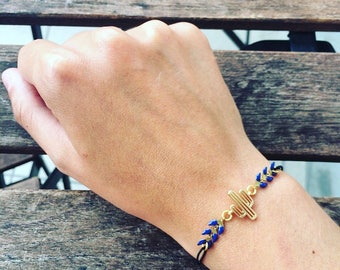 Ethnic brass cactus and dark blue ear chain stretch bracelet