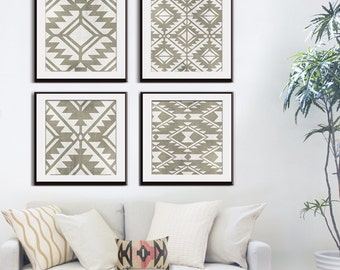 Navajo Indian inspired Geometric Patterns (Series A4) Set of 4 Art Prints (Featured in Distressed Stone Wash) Modern Tribal Art