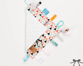 Baby Crinkle Toy, Taggie Toy, Sensory Toy, Taggie Blanket, Orange Triangles