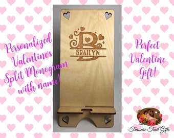 Personalized Split Monogram Wooden Phone Stand, Iphone Stand, Docking Station, Phone Stand, Phone Holder, Cell Phone Stand, Phone Dock