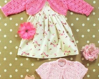 Girls Lacy Bolero Cardigans, Baby Toddler, 0-6yrs, 16-26'', DK/ 8ply Knitting Pattern, Instant download PDF - 251