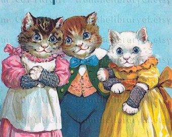 Three Little Kittens - Personalized Bookplates -   ADHESIVE bookplates, vintage art, kittens