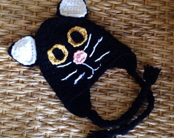 Crochet Black Cat Hat