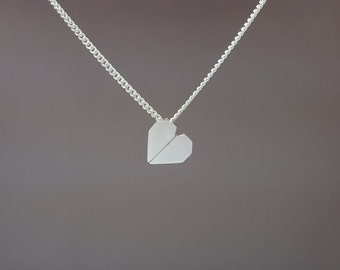 Sterling silver origami heart necklace - Origami heart necklace - Heart pendant - Origami pendant - Love pendant