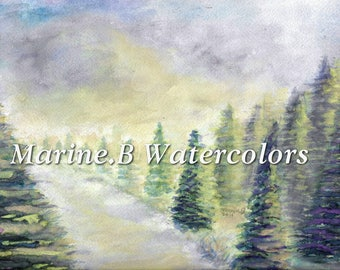 Watercolor Forest / Nature Home art print 8 x 10 in