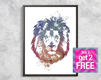 Lion print, Lion Watercolor, Lion Decor, Lion Art, Animal Watercolor , lion printable art, watercolor lion poster , blue lion , lion drawing