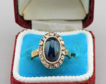 Reserved  to E. - Gorgeous Victorian 4.70 Ct sapphire and rose cut diamond rare ring