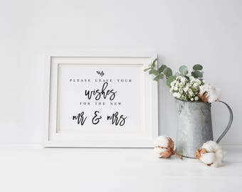 Please Leave Your Wishes For the New Mr and Mrs Wedding Sign  Wedding Advice Sign Printable Modern Advice Sign #WP40