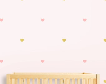 Hearts Wall Decal Wall Sticker, Gold Decal Hearts Wall Pattern