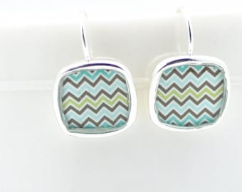 Chevron Blue Earrings | Silver Square Earrings | Aquamarine Design | Zigzag Design | Dainty Jewelry | Beach Accessory