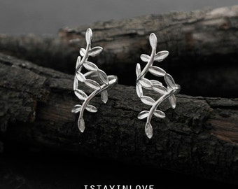 Sterling Silver Tiny Leaf Earring Clip | Nature Inspired Jewelry I Personalized Gift