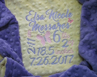 Personalized Birth Stats Baby Minky Blanket