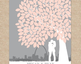 Canvas Wedding Guest Book, canvas or art print // Personalized Skyline & Silhouette Guestbook Keepsake, 175+ Signatures // W-T05-1PS  HH3