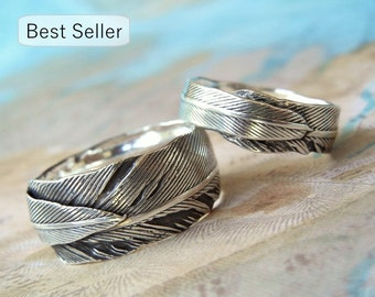 Unique Wedding Rings, Silver Wedding Bands, Eco Friendly Wedding Jewelry, Handmade Silver Wedding Rings, His and Her Set