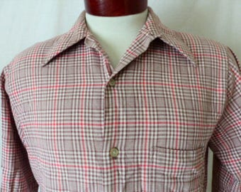 vintage 70's brown cream red glen plaid big collar shirt long sleeve button up dress shirt slim fit medium preppy traditional tailored