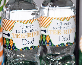 Father's Day Golf Water Bottle Labels | Printable | Instant Download | Tee-riffic